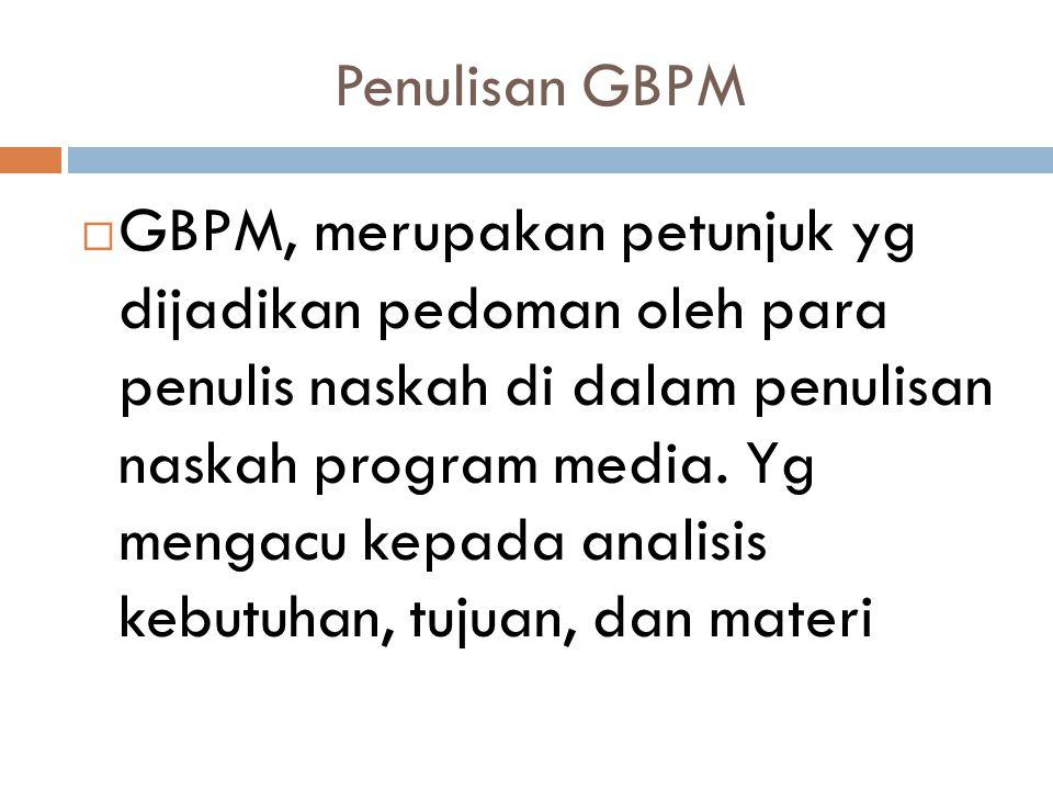 Penulisan GBPM  GBPM, merupakan petunjuk yg dijadikan pedoman oleh para penulis naskah di dalam penulisan naskah program media. Yg mengacu kepada ana