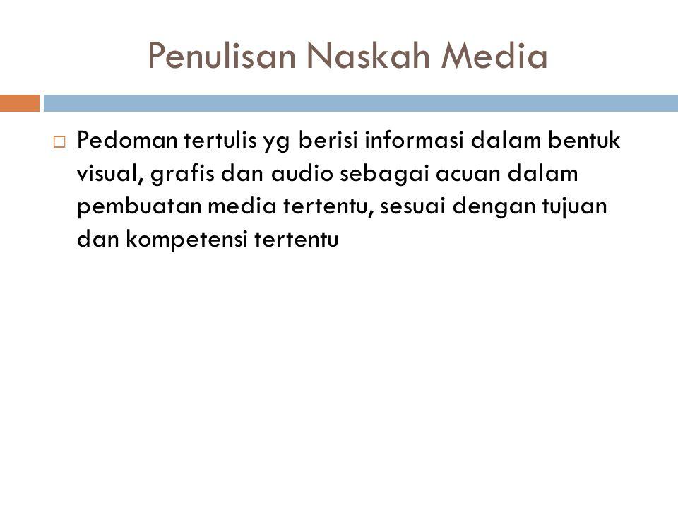Penulisan Naskah Media  Pedoman tertulis yg berisi informasi dalam bentuk visual, grafis dan audio sebagai acuan dalam pembuatan media tertentu, sesuai dengan tujuan dan kompetensi tertentu