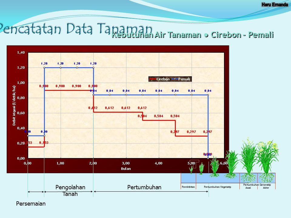 Pencatatan Data Tanaman Persemaian Pengolahan Tanah Pertumbuhan Kebutuhan Air Tanaman ● Cirebon - Pemali Pembibitan Pertumbuhan Vegetatip Awal Akhir P
