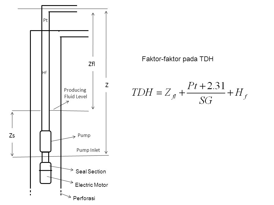 Electric Motor Seal Section Zs Z Zfl Pt Perforasi Pump Inlet Pump Producing Fluid Level Hf Faktor-faktor pada TDH