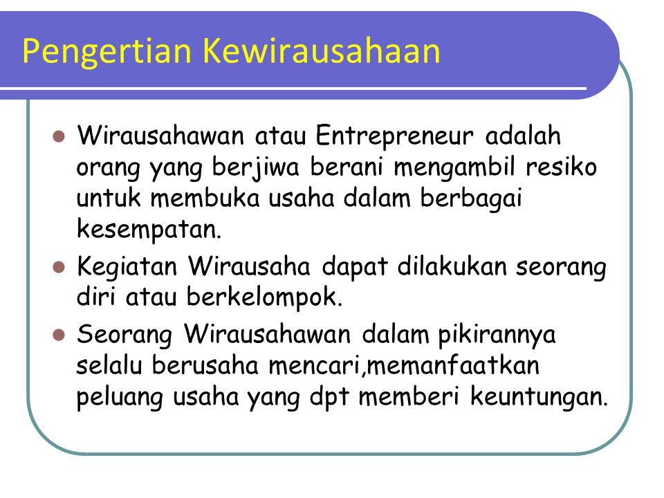Pengertian Kewirausahaan Wirausahawan atau Entrepreneur adalah orang yang berjiwa berani mengambil resiko untuk membuka usaha dalam berbagai kesempata
