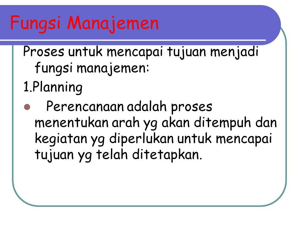 Fungsi Manajemen Proses untuk mencapai tujuan menjadi fungsi manajemen: 1.Planning Perencanaan adalah proses menentukan arah yg akan ditempuh dan kegi