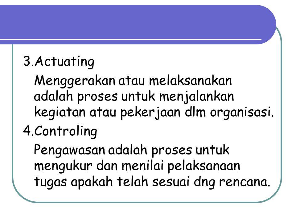 3.Actuating Menggerakan atau melaksanakan adalah proses untuk menjalankan kegiatan atau pekerjaan dlm organisasi. 4.Controling Pengawasan adalah prose