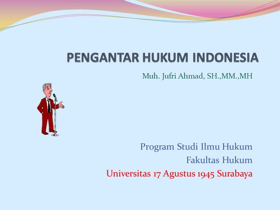 Muh. Jufri Ahmad, SH.,MM.,MH Program Studi Ilmu Hukum Fakultas Hukum Universitas 17 Agustus 1945 Surabaya