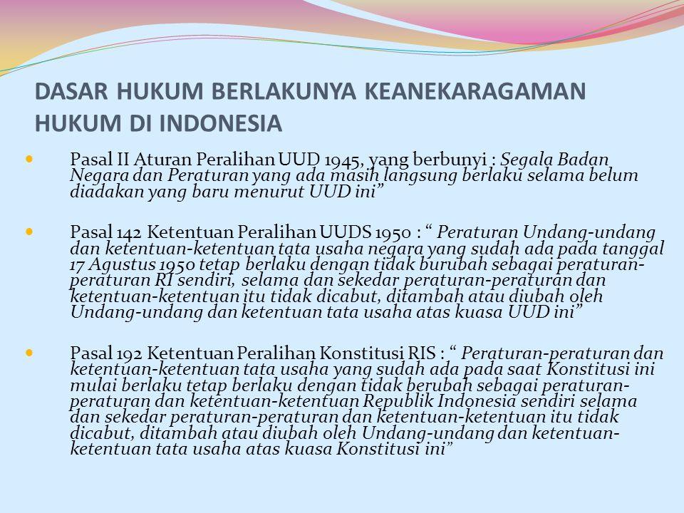 DASAR HUKUM BERLAKUNYA KEANEKARAGAMAN HUKUM DI INDONESIA Pasal II Aturan Peralihan UUD 1945, yang berbunyi : Segala Badan Negara dan Peraturan yang ad