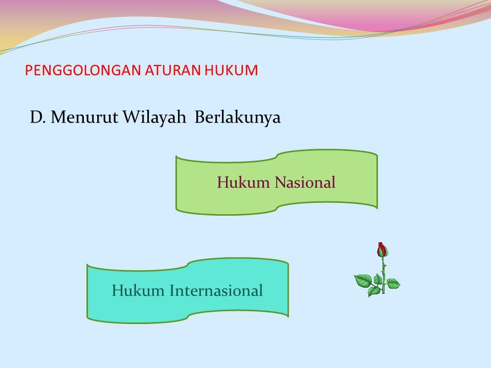 PENGGOLONGAN ATURAN HUKUM D. Menurut Wilayah Berlakunya Hukum Nasional Hukum Internasional