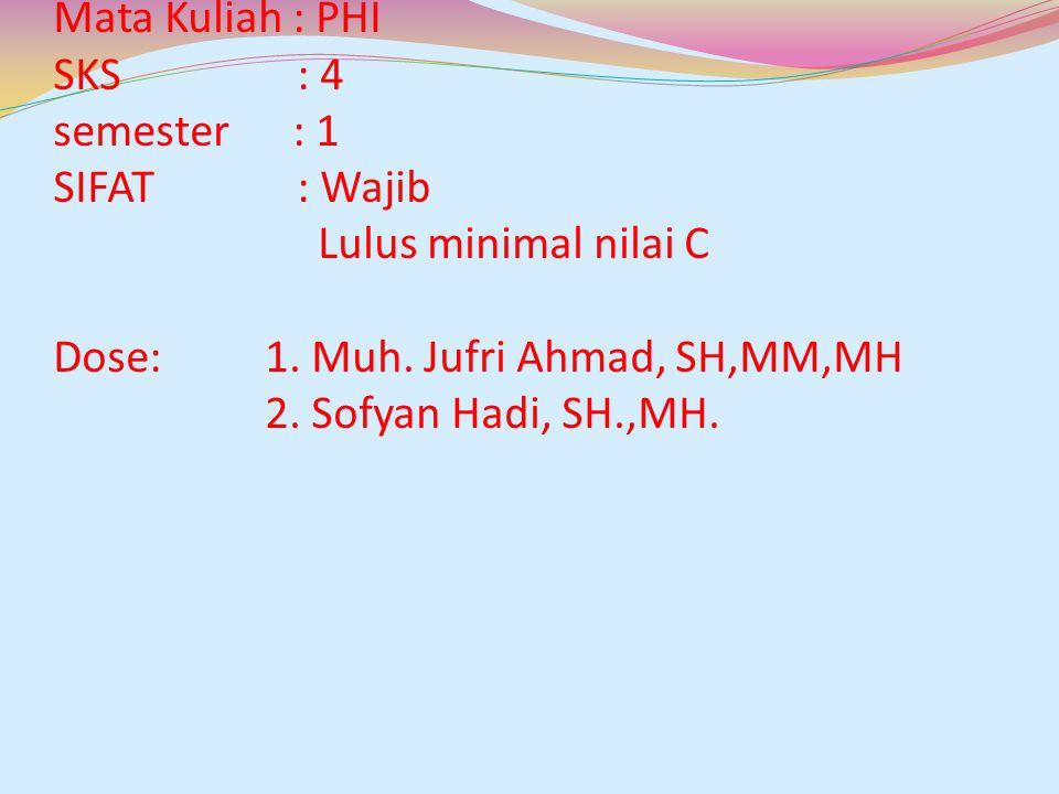 Mata Kuliah : PHI SKS : 4 semester : 1 SIFAT : Wajib Lulus minimal nilai C Dose: 1. Muh. Jufri Ahmad, SH,MM,MH 2. Sofyan Hadi, SH.,MH.