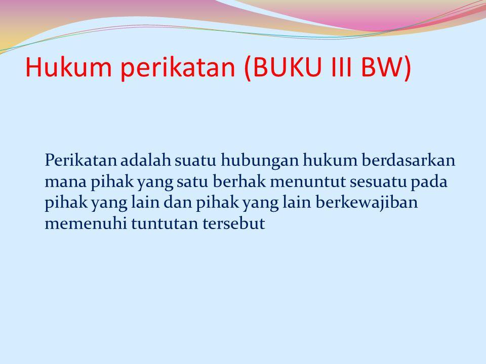 Hukum perikatan (BUKU III BW) Perikatan adalah suatu hubungan hukum berdasarkan mana pihak yang satu berhak menuntut sesuatu pada pihak yang lain dan