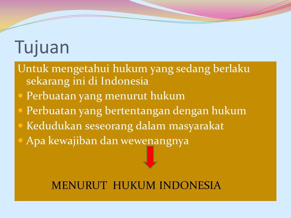 Tujuan Untuk mengetahui hukum yang sedang berlaku sekarang ini di Indonesia Perbuatan yang menurut hukum Perbuatan yang bertentangan dengan hukum Kedu