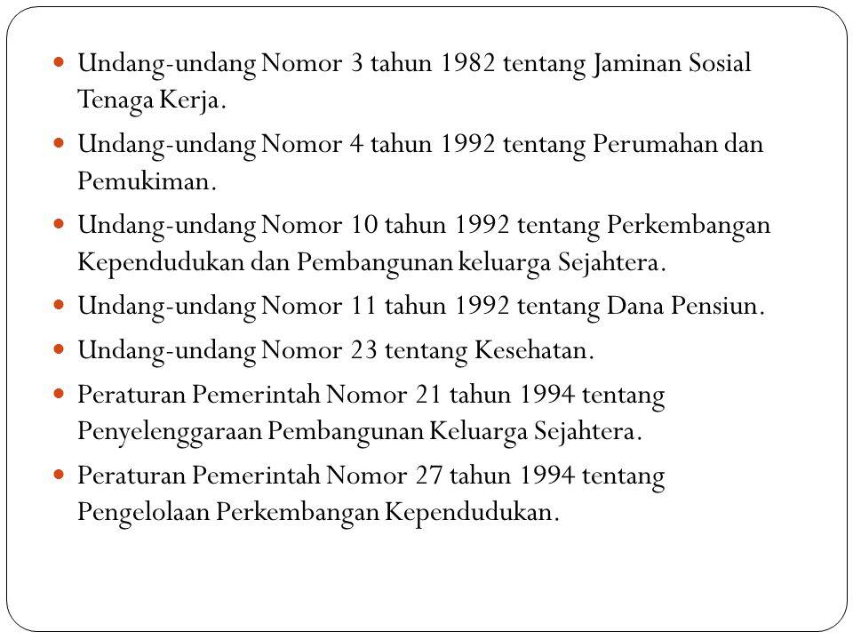 Undang-undang Nomor 3 tahun 1982 tentang Jaminan Sosial Tenaga Kerja. Undang-undang Nomor 4 tahun 1992 tentang Perumahan dan Pemukiman. Undang-undang