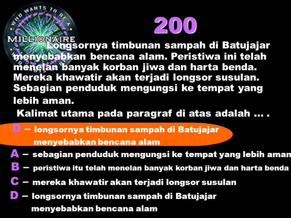 200 Longsornya timbunan sampah di Batujajar menyebabkan bencana alam. Peristiwa ini telah menelan banyak korban jiwa dan harta benda. Mereka khawatir
