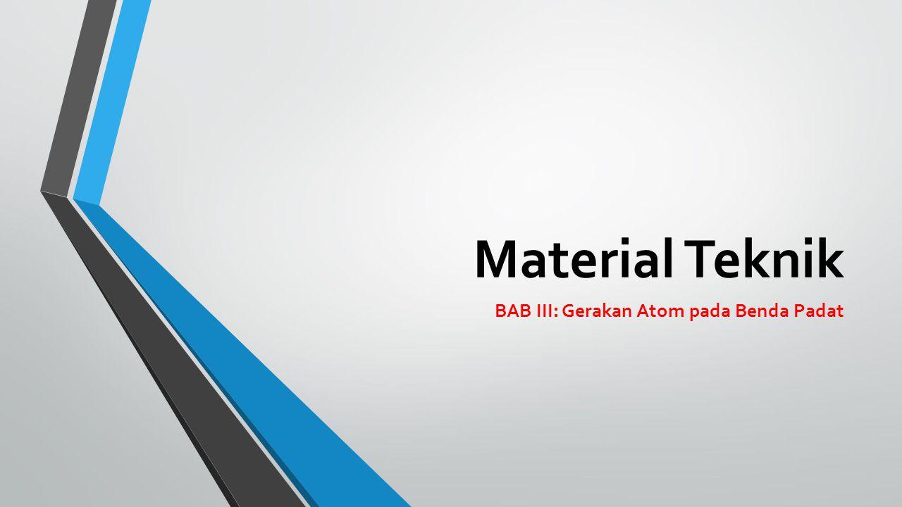 GERAKAN ATOM PADA BENDA PADAT Difusi adalah suatu peristiwa untuk menghilangkan perbedaan konsentrasi dalam bahan untuk membentuk suatu komposisi bahan yang homogen.