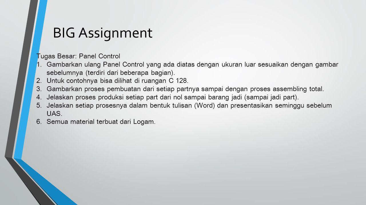 Tugas Besar: Panel Control 1.Gambarkan ulang Panel Control yang ada diatas dengan ukuran luar sesuaikan dengan gambar sebelumnya (terdiri dari beberap