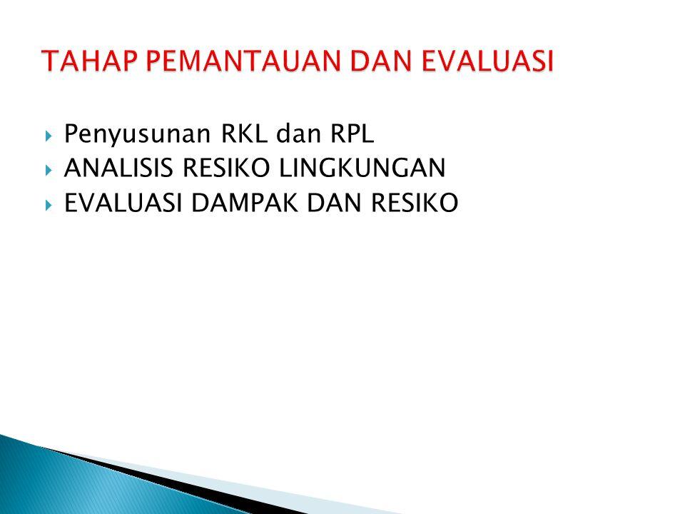  Penyusunan RKL dan RPL  ANALISIS RESIKO LINGKUNGAN  EVALUASI DAMPAK DAN RESIKO