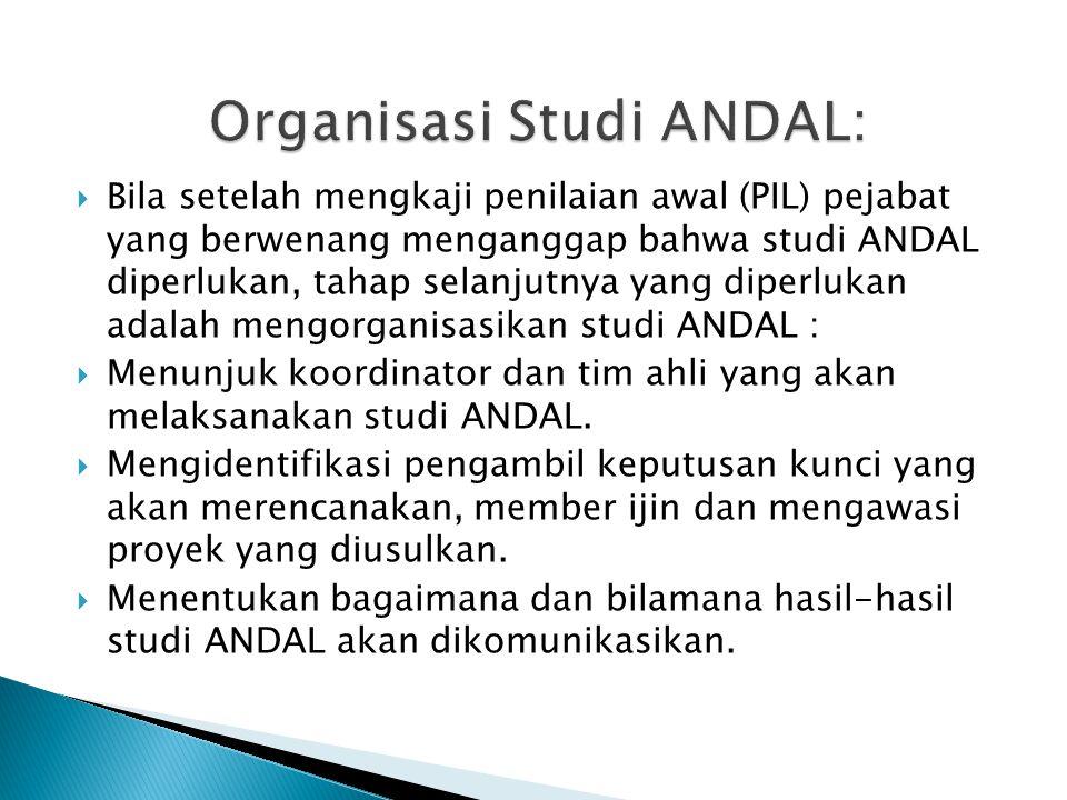  Bila setelah mengkaji penilaian awal (PIL) pejabat yang berwenang menganggap bahwa studi ANDAL diperlukan, tahap selanjutnya yang diperlukan adalah