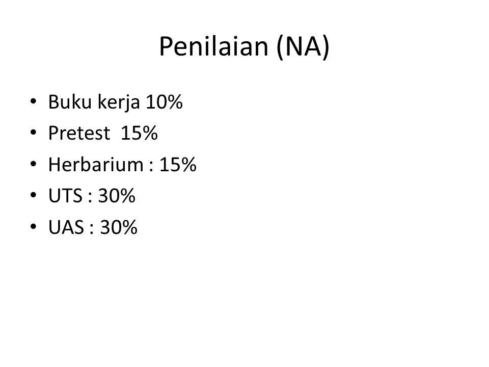 Penilaian (NA) Buku kerja 10% Pretest 15% Herbarium : 15% UTS : 30% UAS : 30%