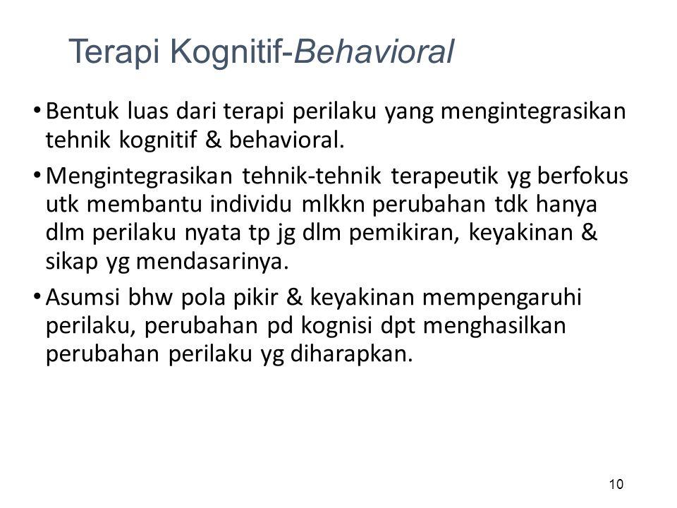 Terapi Kognitif-Behavioral Bentuk luas dari terapi perilaku yang mengintegrasikan tehnik kognitif & behavioral. Mengintegrasikan tehnik-tehnik terapeu