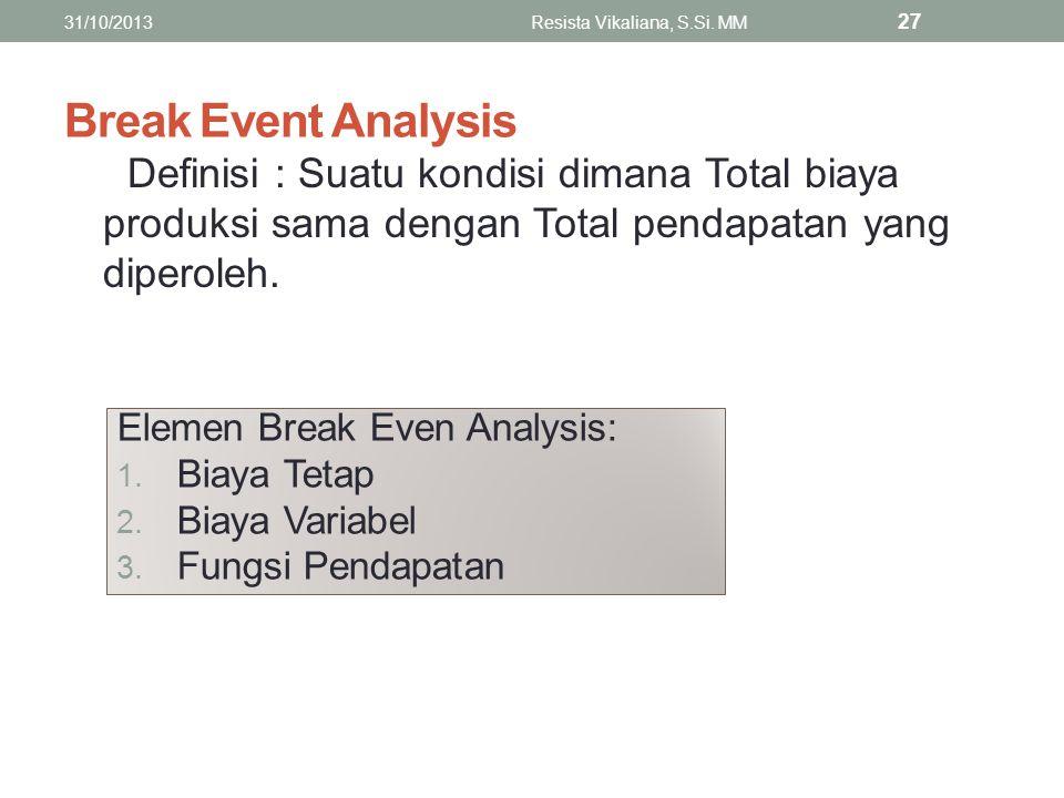 Break Event Analysis Definisi : Suatu kondisi dimana Total biaya produksi sama dengan Total pendapatan yang diperoleh. 31/10/2013Resista Vikaliana, S.