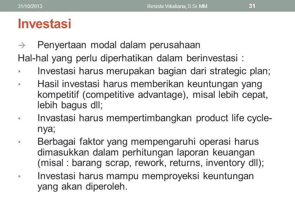 Investasi  Penyertaan modal dalam perusahaan Hal-hal yang perlu diperhatikan dalam berinvestasi : Investasi harus merupakan bagian dari strategic pla
