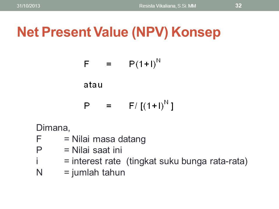 Net Present Value (NPV) Konsep Dimana, F= Nilai masa datang P= Nilai saat ini i= interest rate (tingkat suku bunga rata-rata) N= jumlah tahun 31/10/20