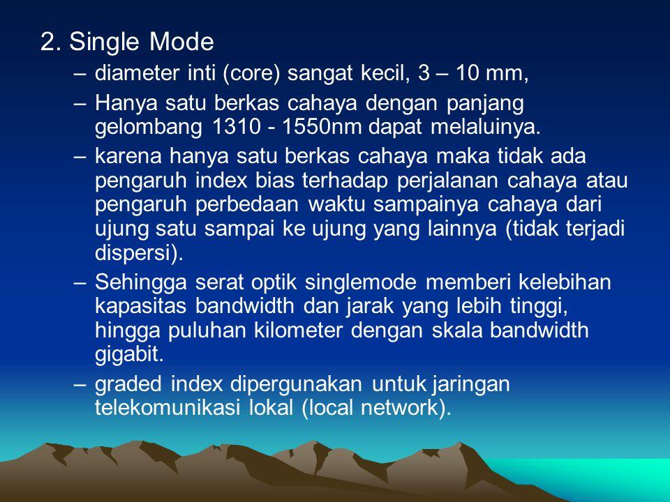 2. Single Mode –diameter inti (core) sangat kecil, 3 – 10 mm, –Hanya satu berkas cahaya dengan panjang gelombang 1310 - 1550nm dapat melaluinya. –kare