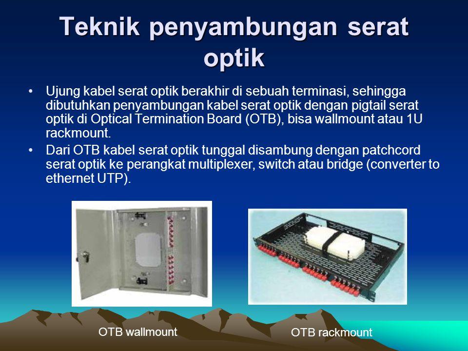 Teknik penyambungan serat optik Ujung kabel serat optik berakhir di sebuah terminasi, sehingga dibutuhkan penyambungan kabel serat optik dengan pigtai