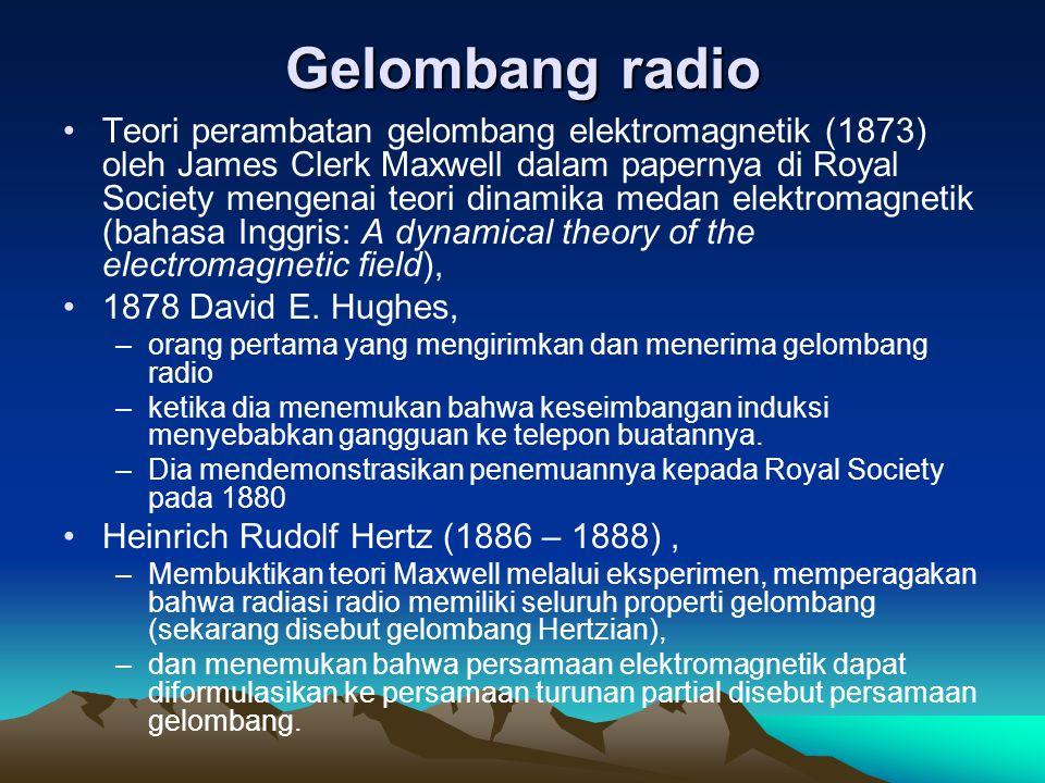 Gelombang radio Teori perambatan gelombang elektromagnetik (1873) oleh James Clerk Maxwell dalam papernya di Royal Society mengenai teori dinamika med