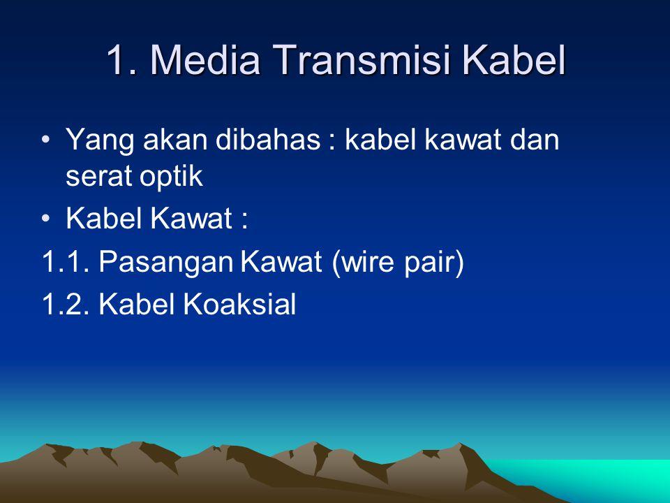 1. Media Transmisi Kabel Yang akan dibahas : kabel kawat dan serat optik Kabel Kawat : 1.1. Pasangan Kawat (wire pair) 1.2. Kabel Koaksial