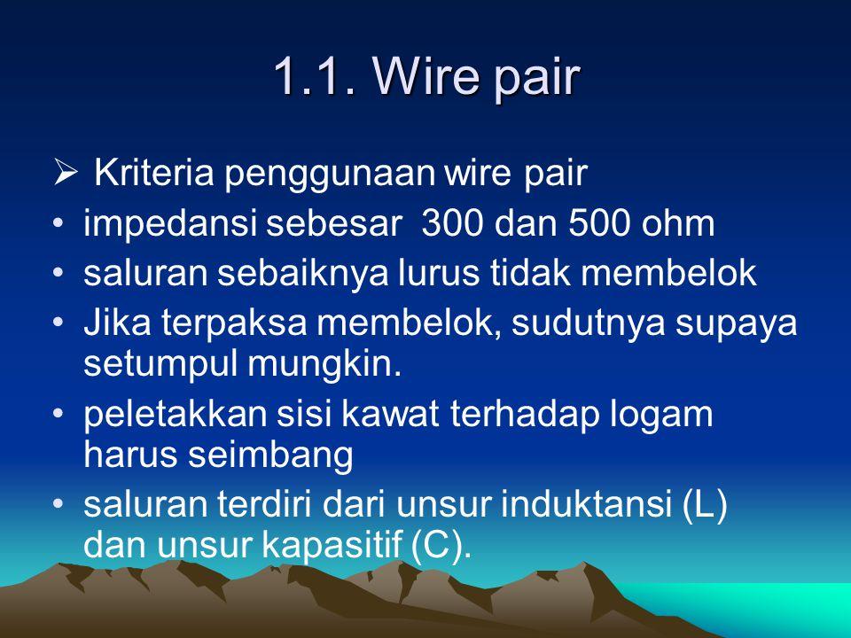 1.1. Wire pair  Kriteria penggunaan wire pair impedansi sebesar 300 dan 500 ohm saluran sebaiknya lurus tidak membelok Jika terpaksa membelok, sudutn