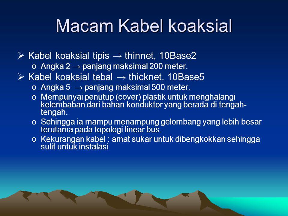 Macam Kabel koaksial  Kabel koaksial tipis → thinnet, 10Base2 oAngka 2 → panjang maksimal 200 meter.  Kabel koaksial tebal → thicknet. 10Base5 oAngk