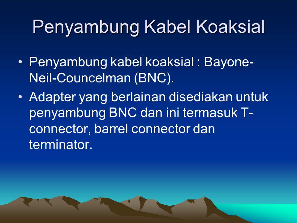 Penyambung Kabel Koaksial Penyambung kabel koaksial : Bayone- Neil-Councelman (BNC). Adapter yang berlainan disediakan untuk penyambung BNC dan ini te