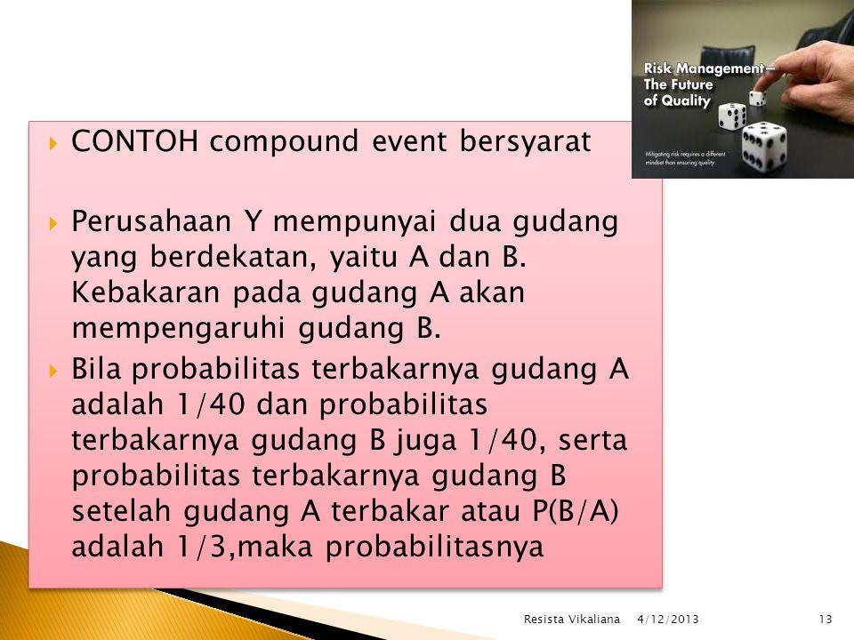  CONTOH compound event bersyarat  Perusahaan Y mempunyai dua gudang yang berdekatan, yaitu A dan B. Kebakaran pada gudang A akan mempengaruhi gudang