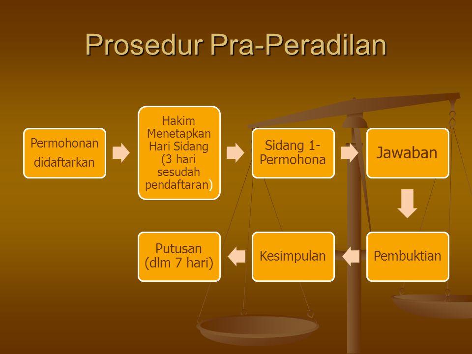 Prosedur Pra-Peradilan Permohonan didaftarkan Hakim Menetapkan Hari Sidang (3 hari sesudah pendaftaran) Sidang 1- Permohona Jawaban PembuktianKesimpul