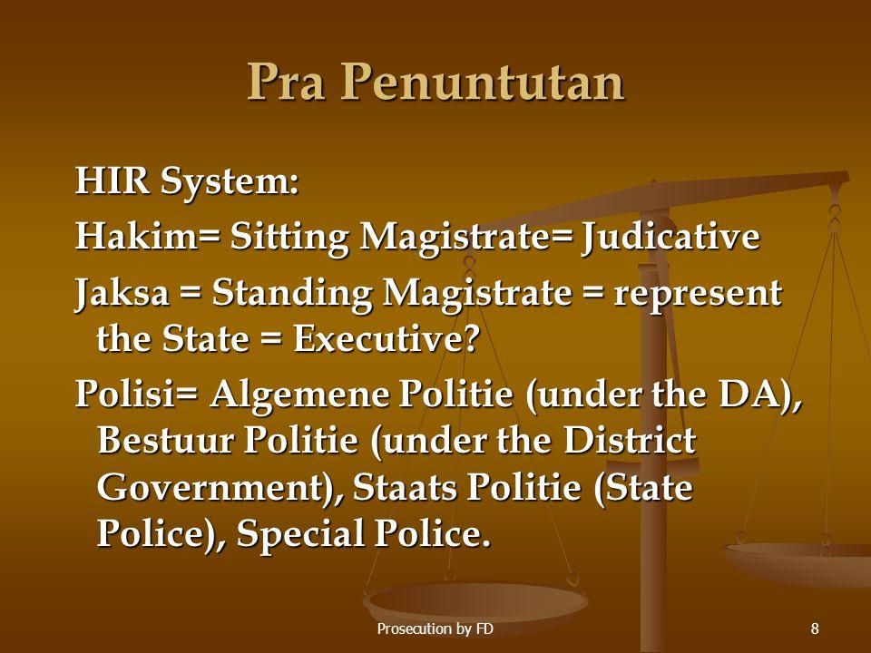 Pra Penuntutan HIR System: Hakim= Sitting Magistrate= Judicative Jaksa = Standing Magistrate = represent the State = Executive? Polisi= Algemene Polit