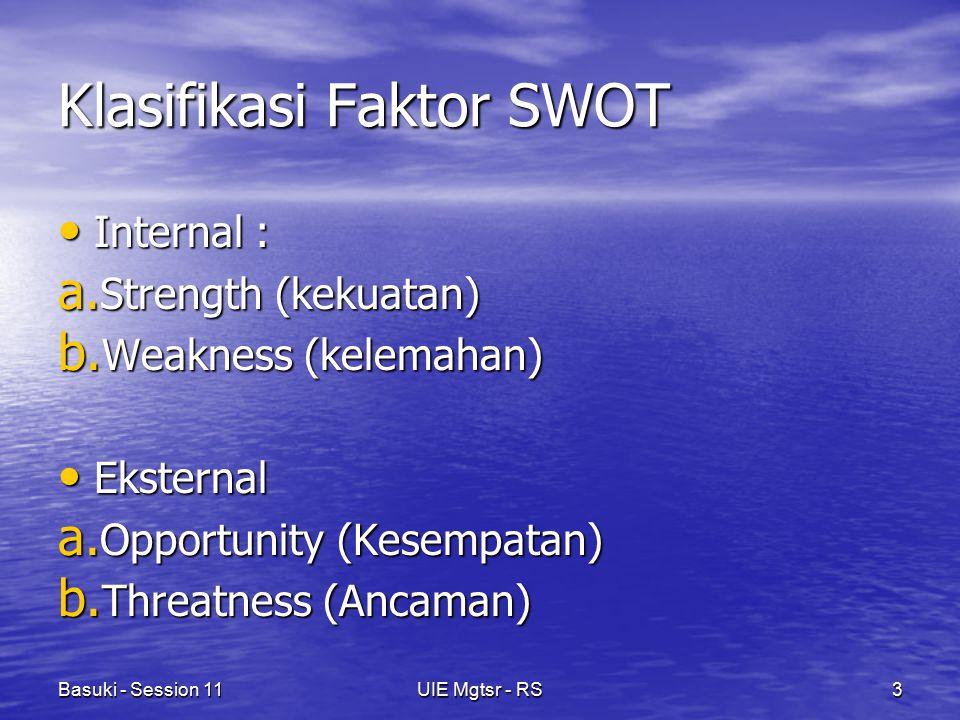 Basuki - Session 11UIE Mgtsr - RS3 Klasifikasi Faktor SWOT Internal : Internal : a. Strength (kekuatan) b. Weakness (kelemahan) Eksternal Eksternal a.