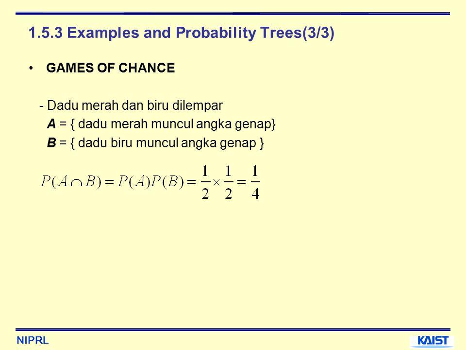NIPRL 1.5.3 Examples and Probability Trees(3/3) GAMES OF CHANCE - Dadu merah dan biru dilempar A = { dadu merah muncul angka genap} B = { dadu biru muncul angka genap }