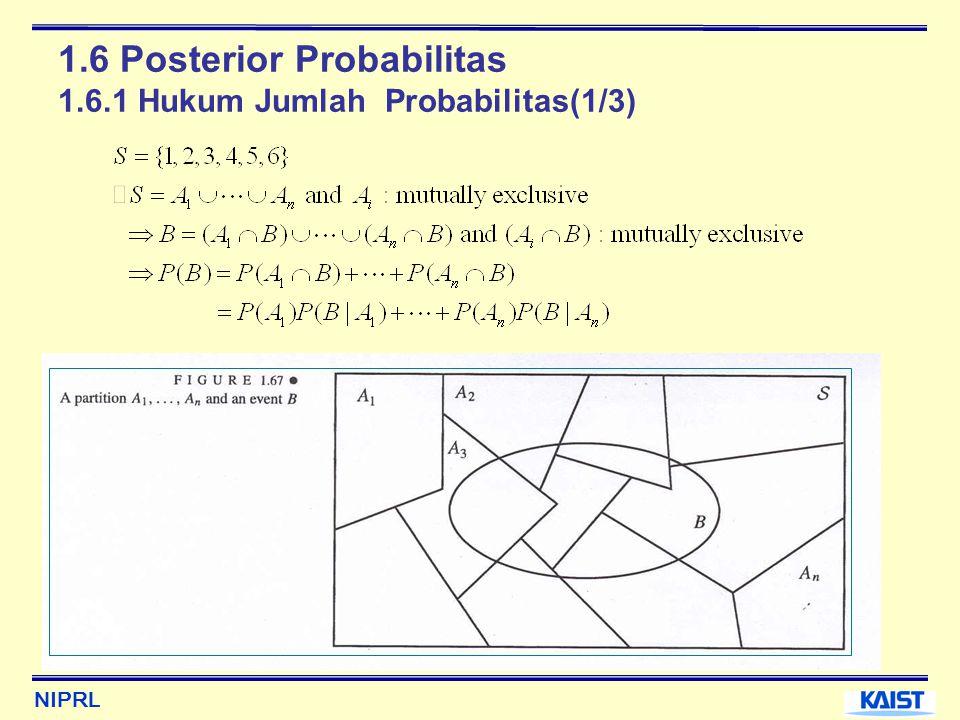 NIPRL 1.6 Posterior Probabilitas 1.6.1 Hukum Jumlah Probabilitas(1/3)