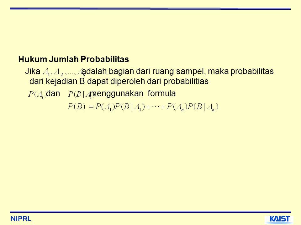NIPRL Hukum Jumlah Probabilitas Jika adalah bagian dari ruang sampel, maka probabilitas dari kejadian B dapat diperoleh dari probabilitias dan menggunakan formula