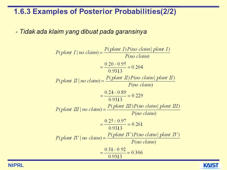 NIPRL 1.6.3 Examples of Posterior Probabilities(2/2) - Tidak ada klaim yang dibuat pada garansinya