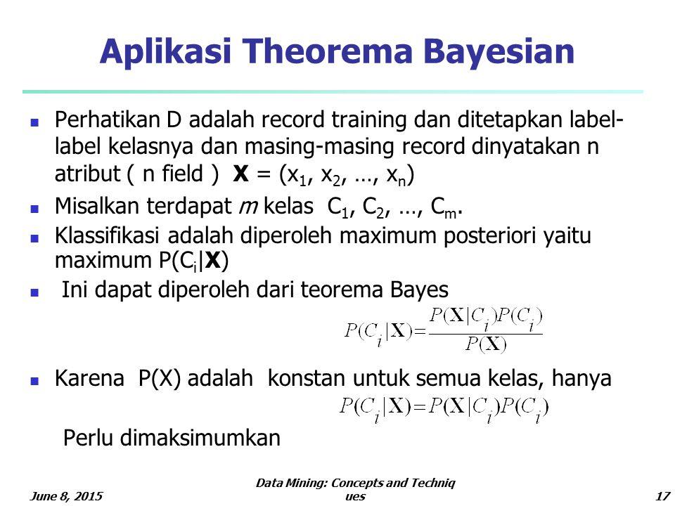 June 8, 2015 Data Mining: Concepts and Techniq ues17 Aplikasi Theorema Bayesian Perhatikan D adalah record training dan ditetapkan label- label kelasnya dan masing-masing record dinyatakan n atribut ( n field ) X = (x 1, x 2, …, x n ) Misalkan terdapat m kelas C 1, C 2, …, C m.