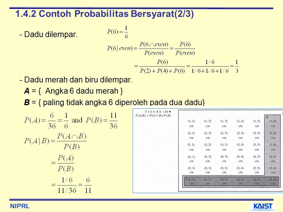 NIPRL 1.4.2 Contoh Probabilitas Bersyarat(2/3) - Dadu dilempar.