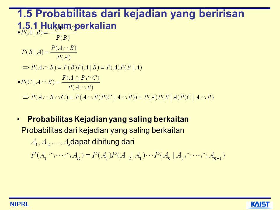 NIPRL 1.5 Probabilitas dari kejadian yang beririsan 1.5.1 Hukum perkalian Probabilitas Kejadian yang saling berkaitan Probabilitas dari kejadian yang saling berkaitan dapat dihitung dari