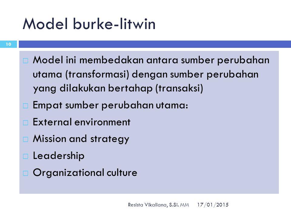 Model burke-litwin 17/01/2015 Resista Vikaliana, S.Si. MM 10  Model ini membedakan antara sumber perubahan utama (transformasi) dengan sumber perubah