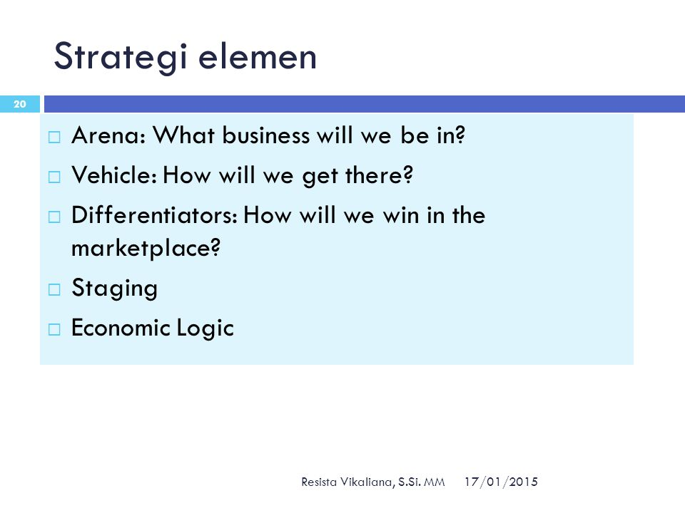 Strategi elemen 17/01/2015 Resista Vikaliana, S.Si. MM 20  Arena: What business will we be in?  Vehicle: How will we get there?  Differentiators: H