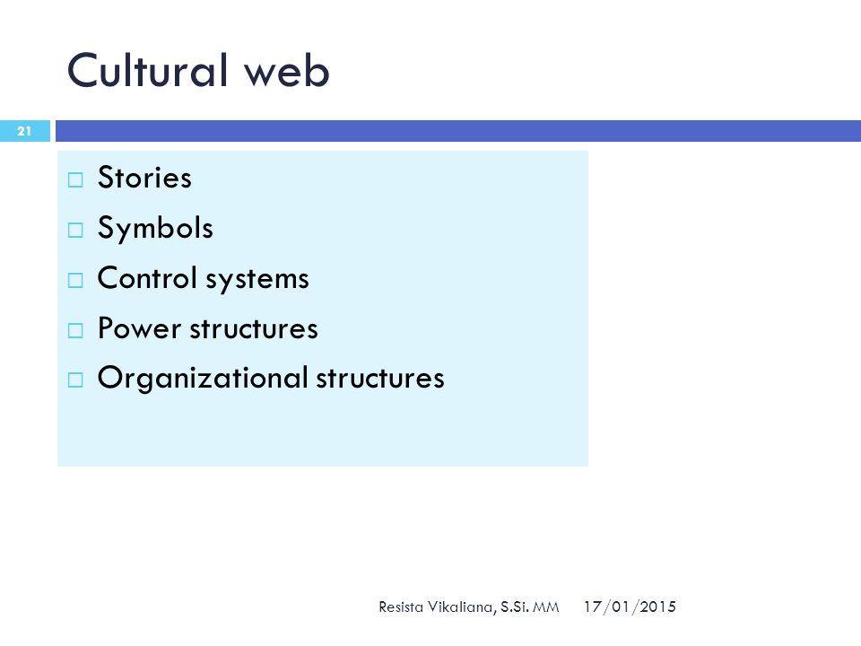 Cultural web 17/01/2015 Resista Vikaliana, S.Si. MM 21  Stories  Symbols  Control systems  Power structures  Organizational structures