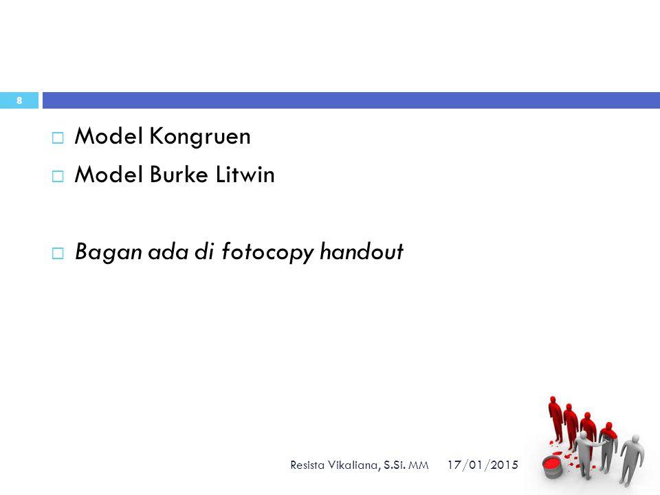 17/01/2015 Resista Vikaliana, S.Si. MM 8  Model Kongruen  Model Burke Litwin  Bagan ada di fotocopy handout