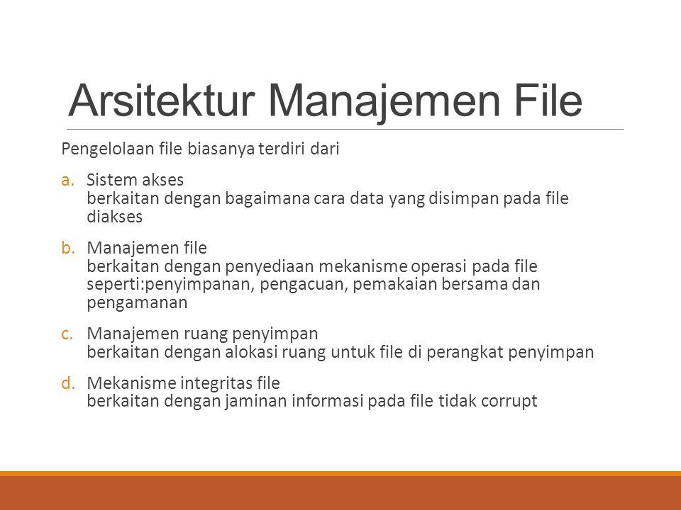 Arsitektur Manajemen File Pengelolaan file biasanya terdiri dari a.Sistem akses berkaitan dengan bagaimana cara data yang disimpan pada file diakses b