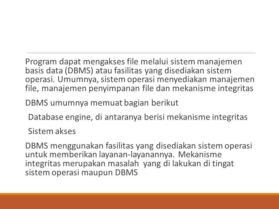 Program dapat mengakses file melalui sistem manajemen basis data (DBMS) atau fasilitas yang disediakan sistem operasi. Umumnya, sistem operasi menyedi