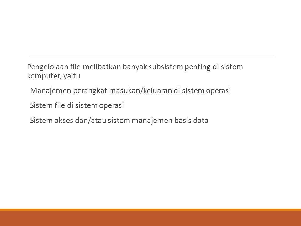 Pengelolaan file melibatkan banyak subsistem penting di sistem komputer, yaitu Manajemen perangkat masukan/keluaran di sistem operasi Sistem file di s