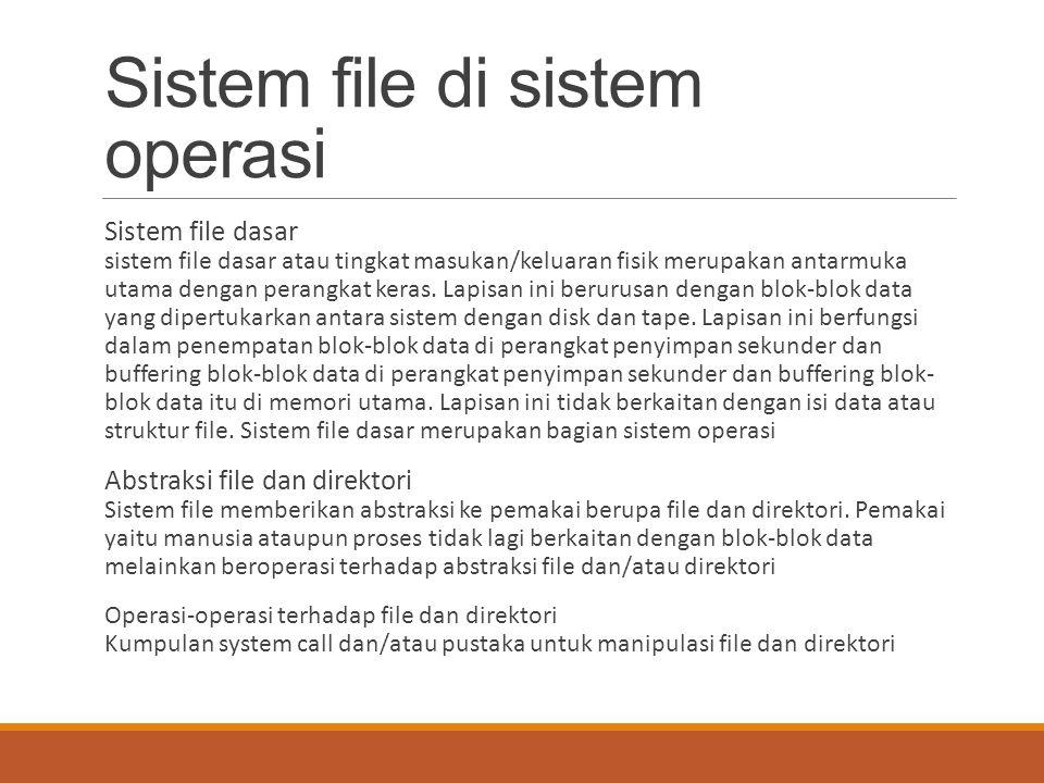 Sistem file di sistem operasi Sistem file dasar sistem file dasar atau tingkat masukan/keluaran fisik merupakan antarmuka utama dengan perangkat keras